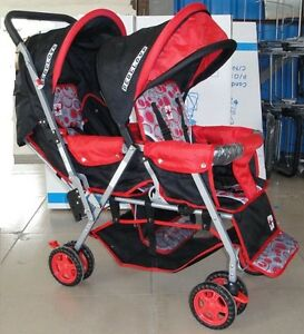 DOUBLE Stroller Baby  Strollers RED  BEBELOVE 2 Seats Multiple Multi Twin New