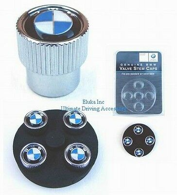 BMW Genuine Logo Wheel Rim Tire Valve Stem Caps Set ( Pack of 4 Caps)