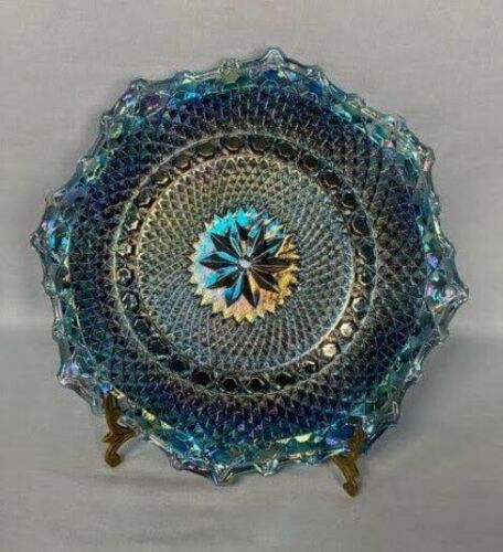 Indiana Blue Iridescent Carnival Glass Hostess Plate