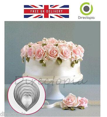 7 Piece Rose Petal Sugar Craft Set Fondant Cake Decorating Cutter Wedding - Petal Rose Cutter