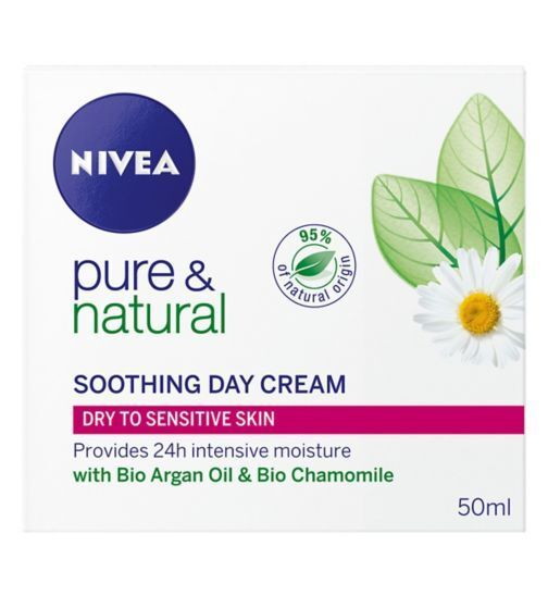 3 x Nivea Pure & Natural Soothing Day Cream 50ml