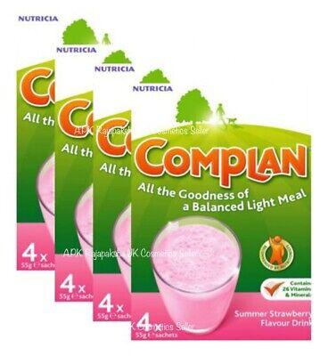 4 x Complan Strawberry Nutrition Vitamin Supplement Protein Energy Drink 4x55g