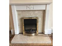 Adam style fireplace complete with marble back, hearth and Dimplex electric fire