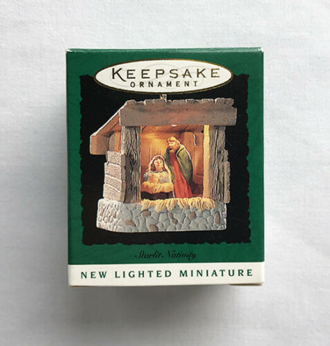 1995 Starlit Nativity ~ Mary, Joseph, Baby Jesus ~ Hallmark Miniature Ornament