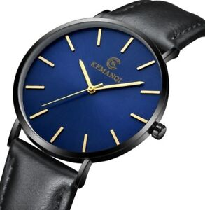 Ultra Thin 6.5mm Luxury Watch with Leather Band