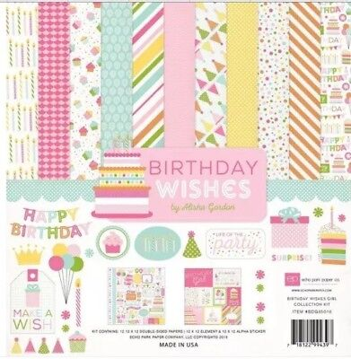 (12 x 12 Echo Park Birthday party wishes girl baby Scrapbook Lot Paper Stickers)
