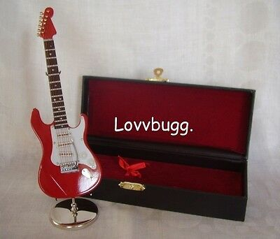 Mini Electric Guitar Red with Stand and Case Perfect for American Girl Doll Music Instrument Accessory BJD