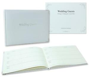 Beautiful Luxury White With Silver Trim Plain Cover Wedding Guest Book Gift B