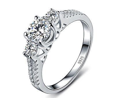 D/VVS1 Diamond Engagement Ring 1 Carat Three Stone 14k White Gold Bridal Jewelry