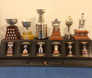 COMPLETE SET OF NHL TROPHIES FROM 2003 WITH DISPLAY STAND