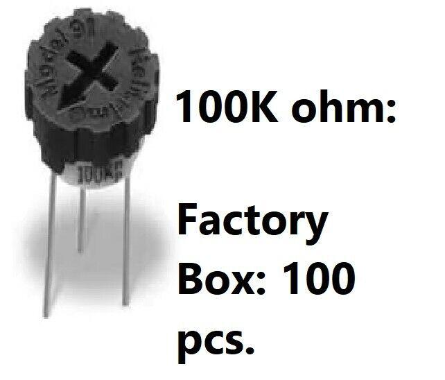 100 Pcs 100K Ohm BI Technologies TrimPots 91AR100K - New In Box - FreeShip