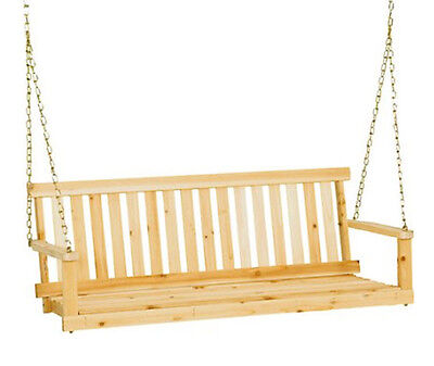 Porch Swing Outdoor Front Yard Seat 5 Foot Unfinished Traditional Natural Finish ()