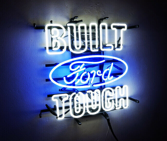 """BUILT TOUGH"" FORD Neon Sign Sport Racing Club Pub Light Auto Shop VIntage Beer"