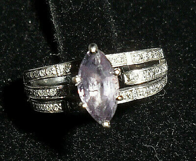 Used, 14ct White Gold Marquise Cut Tanzanite & Diamond Ring ~ UK M US 6 ~ R0190 for sale  Shipping to South Africa