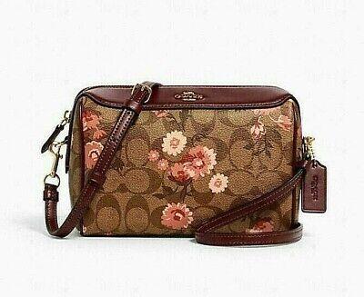 Coach Signature Bennett Prairie Daisy Cluster Print Crossbody Bag Khaki Multi