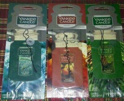 3-Yankee Candle, BALSAM CEDAR,ICY BLUE SPRUCE,APPLE PUMPK Car Jar Air Fresheners