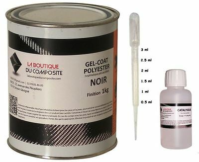 1kg. de gel coat polyester iso. noir avec catalyseur