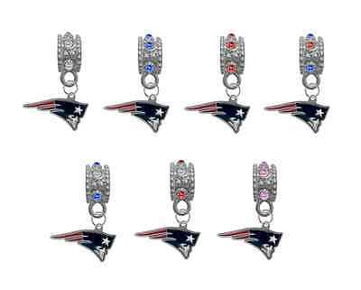 New England Patriots Football European Rhinestone Charm Bracelet Necklace Bead](Football Bead Necklace)