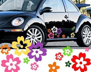 64-Mix-Colour-Wild-Flower-Shape-Vinyl-Car-Vehicle-Wall-Graphic-Stickers-Decals