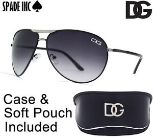 DG-Designer-AVIATOR-Sunglasses-High-Fashion-BLACK-With-DG-CASE-Soft-Pouch-NEW