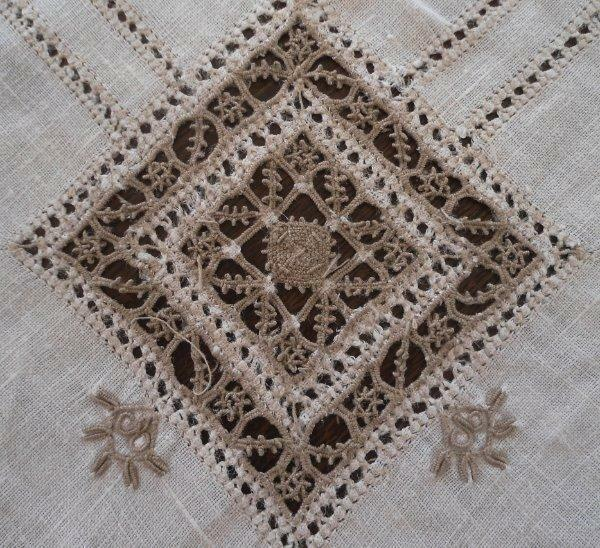 """Vintage Linen Tablecloth Reticella Needle Lace Cutwork Embroidery 99"""""""