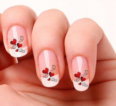 20 Nail Art Decals Transfers Stickers #150 - Hearts & swirls valentines day