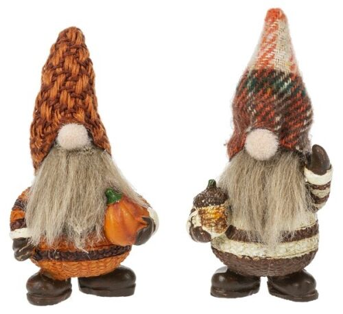 """Ganz Set of 2 Lucky Little Autumn Gnome Figurines w/Story Card 2 1/2"""" Free Ship"""