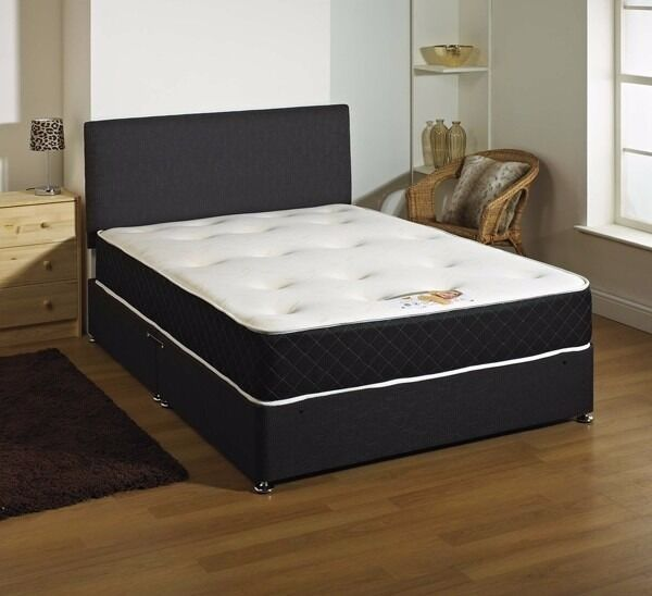 king size memory foam bed with two drawers black or white leather bace and free leather headboardin East End, GlasgowGumtree - king size memory foam bed with two free drawers and a free leather headboard 179.00 in black brown white or cream can deliver all new still in wrappers pay on delivery