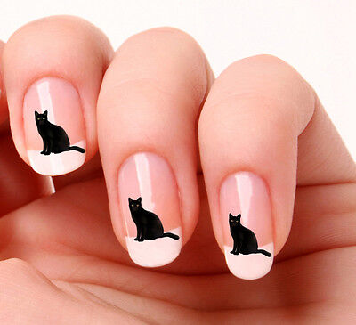 20 Nail Art Decals Transfers Stickers #372 - Black Cat Halloween