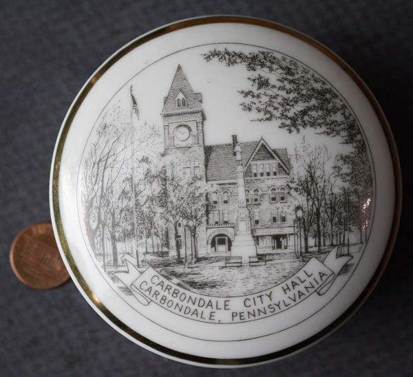 VINTAGE Carbondale Pennsylvania City Hall fine china 2 piece jewelry box set!