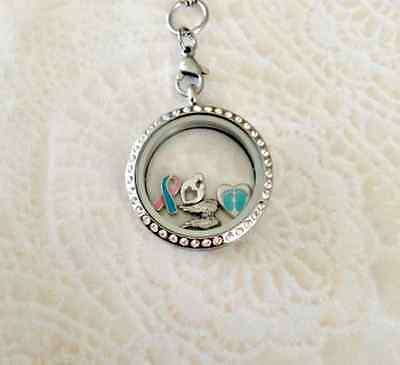 Memory Locket Pregnancy and Infant loss Stainless Steel With Floating - Pregnancy And Infant Loss Jewelry