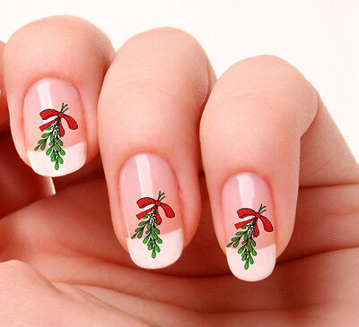 20 Nail Art Stickers Transfers Decals #496 - Christmas Mistletoe  peel & stick