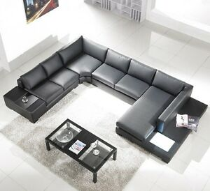 New Black Bonded Leather Sectional Sofa W Built In Lights