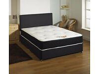 DOUBLE DIVAN BED +MATTRESS + HEADBOARD