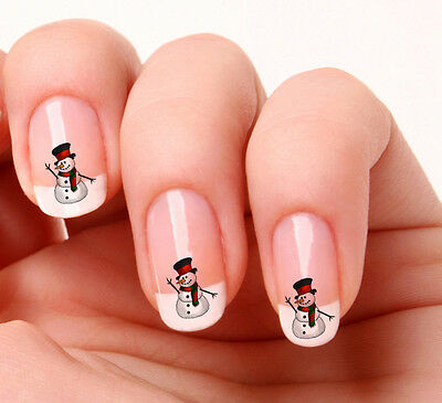 20 Nail Art Decals Transfers Stickers #58 -  Snowman Christmas peel & stick