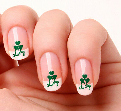 Shamrock Nail Art (20 Nail Art Decals Transfers Stickers #177 - Lucky Shamrock Saint Patricks)