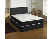 Brown faux leather double bed with mattress and head board