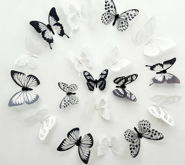 6 Wandtattoo Aufkleber Schmetterlinge im Set S110 einfarbig nach Wunsch