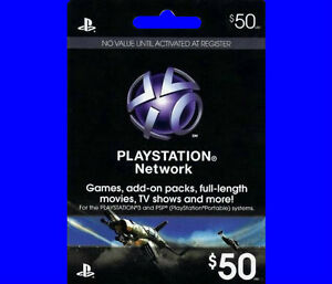 $50 US PlayStation Network Store PSN Gift Card for PS4, PS3, PS VITA, PSP FAST!