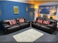 DFS dark brown leather suite large 3 seater sofa and 2 seater sofa