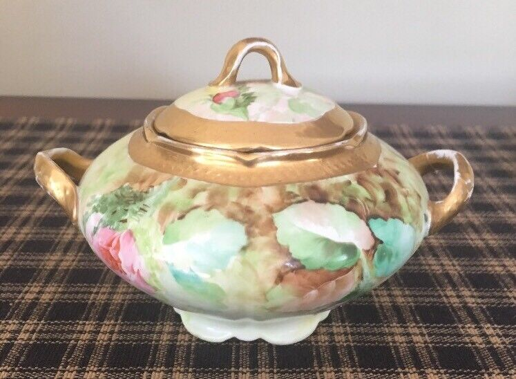 Vintage Ginori Italy Hand Painted Signed Sugar Bowl With Lid. Exc. Condition