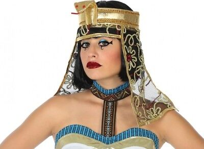 COPRICAPO Cappello Regina CLEOPATRA Costume Donna Parrucca Abito Egiziano