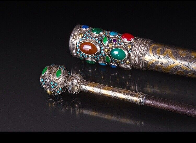 Antique Silver Torah pointer Yad With Stones, 800 Mark hand made In Case