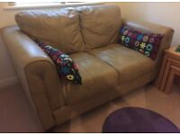 Leather sofa & matching footstool