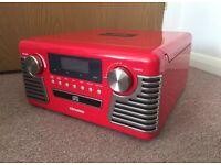 Vintage Looking Chronox Red Record LP Turntable Player CD Radio