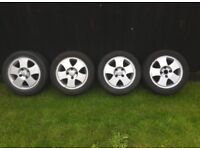 "Set of 14"" Ford Fiesta alloy wheels alloys Escort Focus Courier with good tyres"