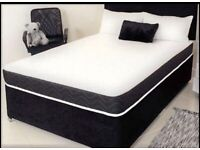SUEDE DIVAN BED SETS WITH MATTRESS AND HEADBOARD