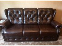 Churchill classic 3 seater leather sofa BARGAIN