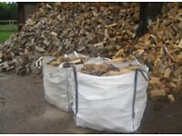 2x1ton bulk bags of dry hardwood seasoned logs £110