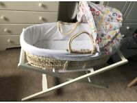 Mothercare Moses basket and stand - includes extras see description